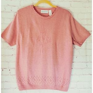 Alfred Dunner Knit Warm Pink Sweater Large
